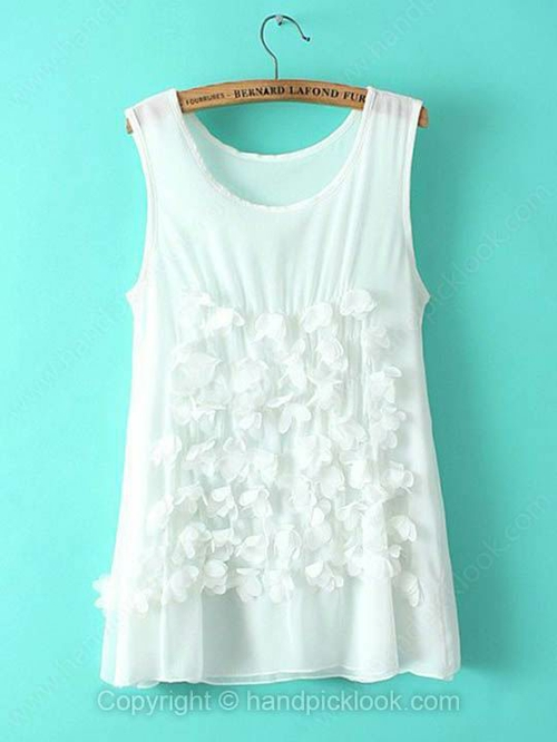 White Round Neck Sleeveless Appliques Chiffon T-Shirt - HandpickLook.com