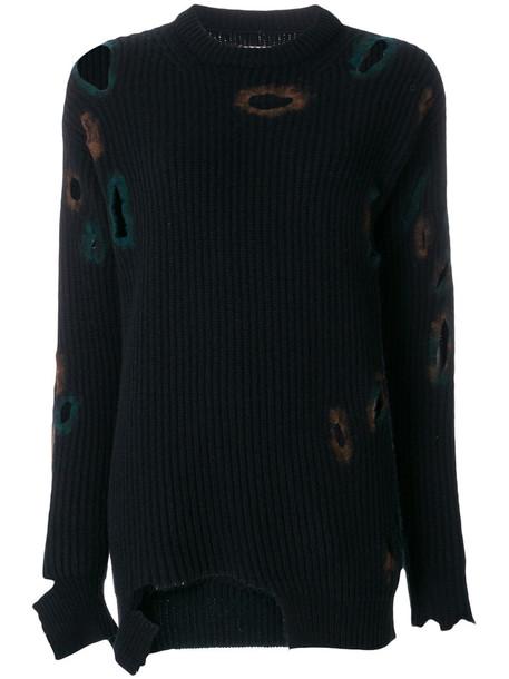 Ballantyne sweater holey sweater women blue