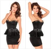 dress,cut out back,low cut,low cut dresses,backless,rivet,ruffle detailed,party dress,little black dresses,kcloth