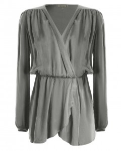 LOVE Grey Long Sleeve Wrap Dress - Love