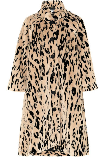 Balenciaga coat faux fur coat fur coat oversized fur faux fur animal print beige