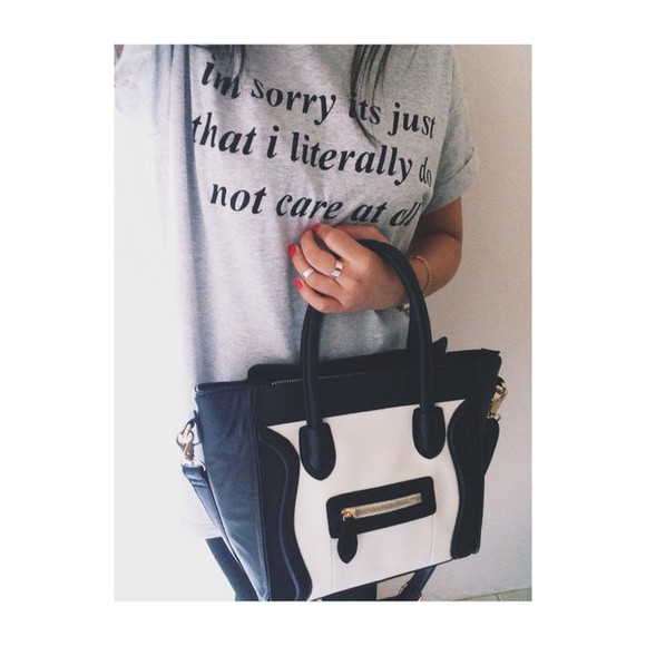 printed tee t-shirt t shirt grey black and white printed shirt bag