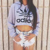 top,sweater,denim,shorts,ripped,crop,long sleeves,adios,adidas,grey,style,adidas style,adidas clothes,adidas tumblr,tumblr,tumblr style,summer,clothes,beach,tumblr beach,adidas hoodie,adidas grey,girl,adios adidas,cool,adidas sweater,adios hoodie