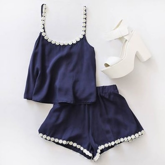 matching set shorts top pajamas romper shirt short summer blue festival