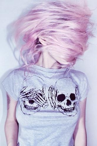 shirt t-shirt skull t-shirt skeleton grunge grey sweater skull style grunge t-shirt grunge top