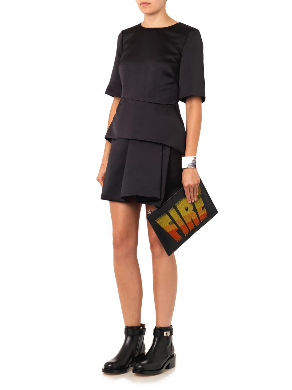 Sculpted peplum satin dress | McQ Alexander McQueen | MATCHESF...