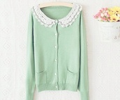 sweater,cardigan,cardis,mint green lace,lace green,mint sweater,mint green sweater,korean fashion,kfashion,ulzzang,tumblr,mint green cardigan,korean style,tumblr girl