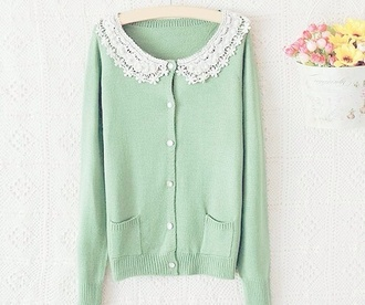 sweater cardigan cardis mint green lace lace green mint sweater mint green sweater korean fashion kfashion ulzzang tumblr mint green cardigan korean style tumblr girl