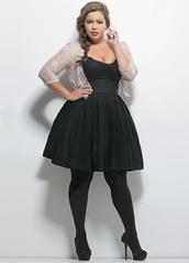 dress,plus size dress,little black dress,cardigan,jacket,black dress,cute,plus size,curvy,a line dress,black tights