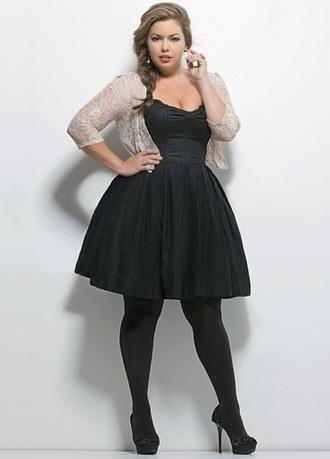 dress plus size dress little black dress cardigan jacket black dress cute plus size curvy a line dress black tights