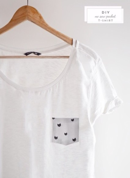 cats shirt pocket tee white t-shirt