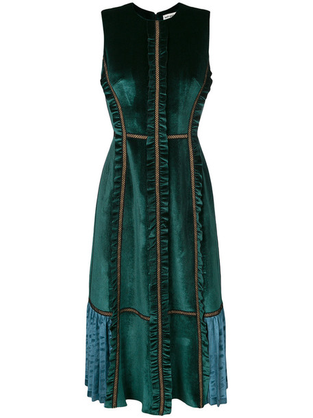 self-portrait dress midi dress women midi spandex velvet green