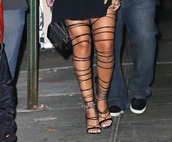 shoes,rihanna,thigh highs,heels,strappy heels,black