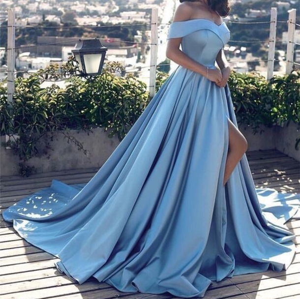 2e698d54f467 dress baby blue gown beautiful prom dress prom heels dances elegant elegant dress  blue dress blue