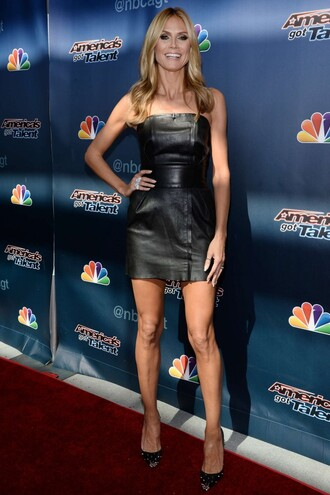 leather leather dress heidi klum pumps strapless dress shoes