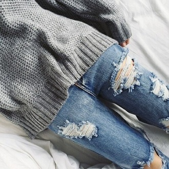 sweater sweate cold grunge vintage jeans teen girl blouse