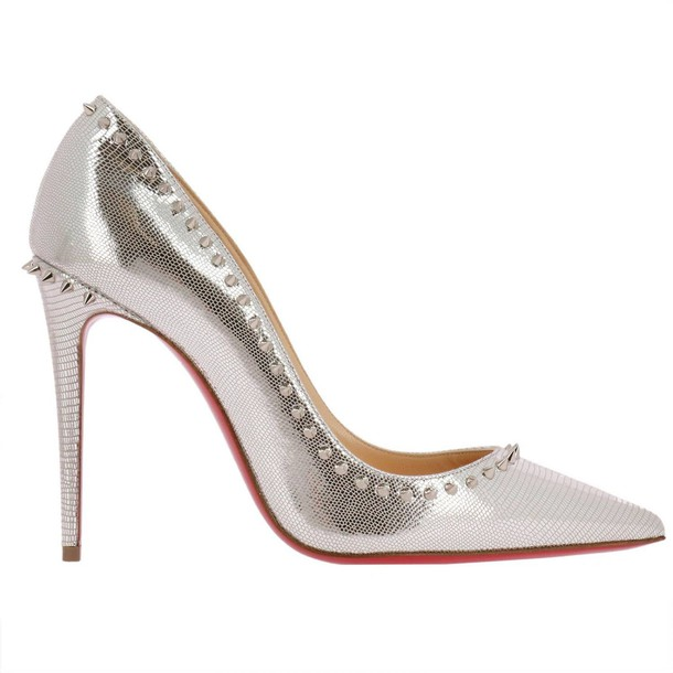christian louboutin women pumps shoes silver