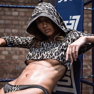 top hoodie bra leopard print wolf crop cropped hoodie sexy body cute style outfit fashion lingerie underwear women clothes
