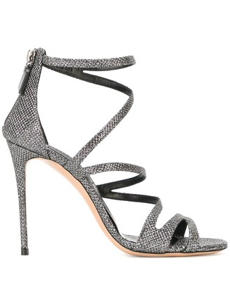 metallic strappy women sandals leather grey shoes