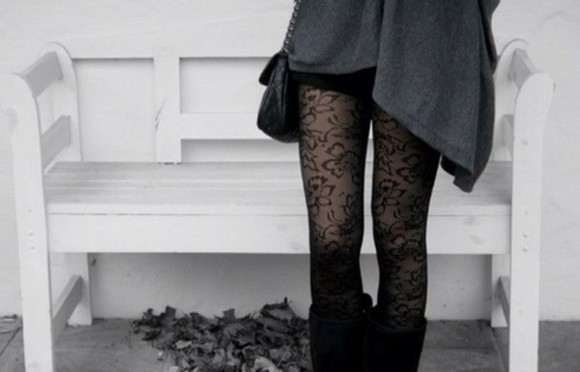 pants stockings lace floral