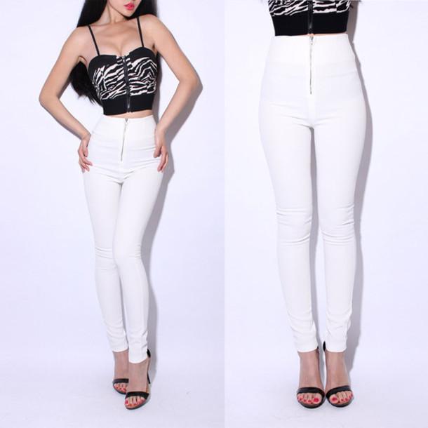 pants white high waisted pants skinny pants