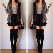 shirt,high socks,skirt,stripes,army green,olive green,knee high socks,jacket,shoes,socks,coat,crop tops,t-shirt,clothes,ootd,striped shirt,vest,thigh highs,skater skirt,long sleeved shirt,necklace,ankle boots,purse,accessories,army green jacket,underwear,jewelry,stockings,high waist skirts,black,blouse,long sleeves,fall outfits,long socks,stripes black and white stripes striped shirt long sleeve,green,soft grunge,fall winter,black skater skirt,striped black and white  top,long black socks,booties,black skirt,green sweater,black skirt with bow,camouflage,military style,white,leather vest,high heels,top,cardigan,vest jacket,striped top,boots,jumpsuit,army green vest,white and black striped shirt,long sleves,black socks,black booties,grey vest,grey,black and white,dress,heels,black bag,midi skirt,stripy top,hipster,urban,grunge,where do i get this outfit??,green military jacket,strings,black boots,wedge boots,shorts,crop,cropped,light jacket,cute outfits,outfit,knee high boots,thigh high boots,over the knee boots,cute,fall coat,fall jacket,winter coat,tights,high knee boots,high waisted,bag,blue and white,sleeveless,where to get this blouse and the jacket et