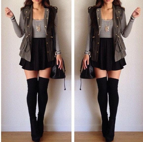 shirt high socks skirt stripes army green olive green thigh high socks jacket shoes