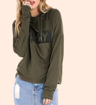 sweater khaki olive green hoodie army green camouflage