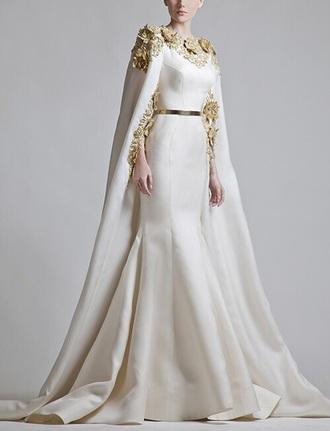 dress wedding dress gold dress white and gold dress long dress cape