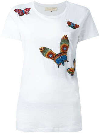 t-shirt shirt embroidered butterfly white top