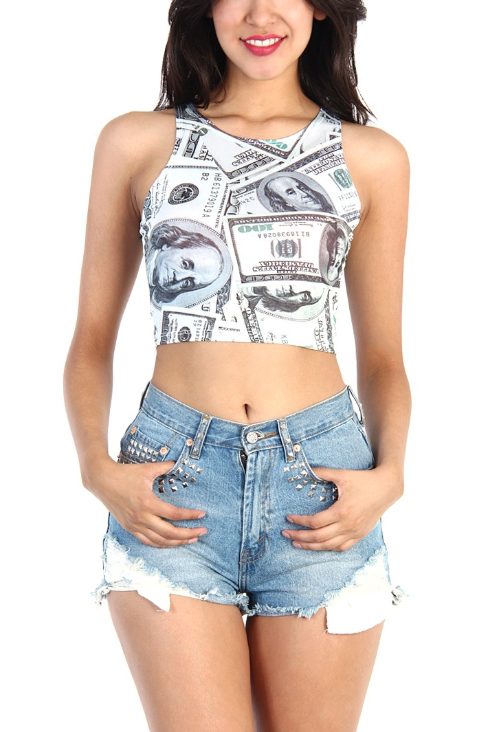 Money Print Crop top