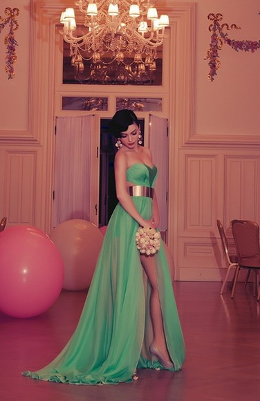 dress maxi dress green dress side slit