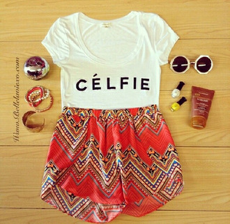 shorts red cute weheartit lovely girly summer outfit fashion selfie nail polish bracelets shirt white party t-shirt print skorts sunglasses