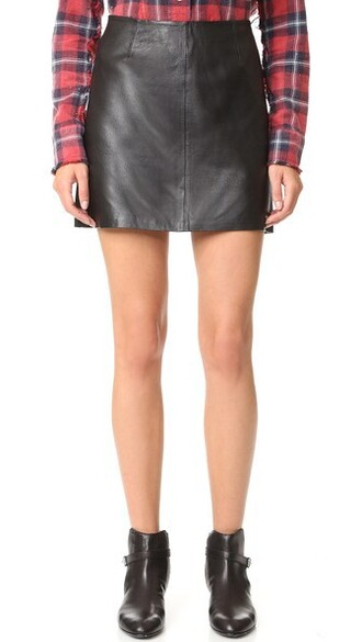miniskirt leather black skirt