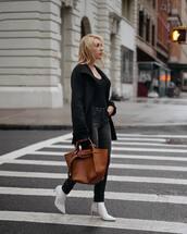 shoes,boots,white boots,black jeans,skinny jeans,black coat,black blouse,handbag