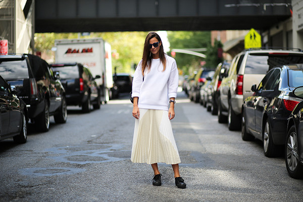 fashion vibe blogger shoes sunglasses bag pleated skirt midi skirt white sweater