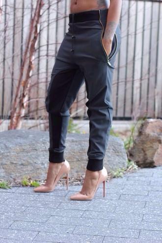 pants shoes black zipper sweatpants jeans black trousers gray pants cuff pants womens trousers leather pants black pants pants black harem pants