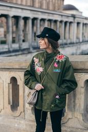jacket,tumblr,army green jacket,oversized jacket,oversized,embroidered,embroidered jacket,bag,chain bag,grey bag,hat,black hat,fisherman cap,rose embroidered