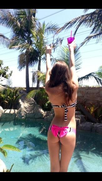 swimwear bikini brazilian pink bow black and white