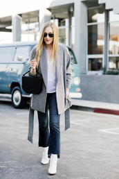 eat sleep wear,blogger,jacket,top,jeans,shoes,bag,jewels,winter outfits,fall outfits,grey coat,ankle boots,white boots