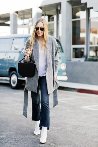 eat sleep wear blogger jacket top jeans shoes bag jewels winter outfits fall outfits grey coat ankle boots white boots