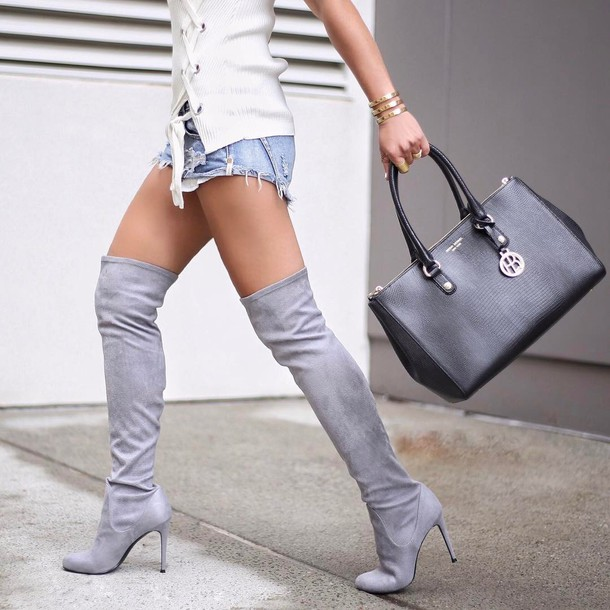 shoes shorts tumblr boots grey boots over the knee thigh high boots thigh highs thigh-high boots bag high heels boots black bag denim shorts blue shorts top white top
