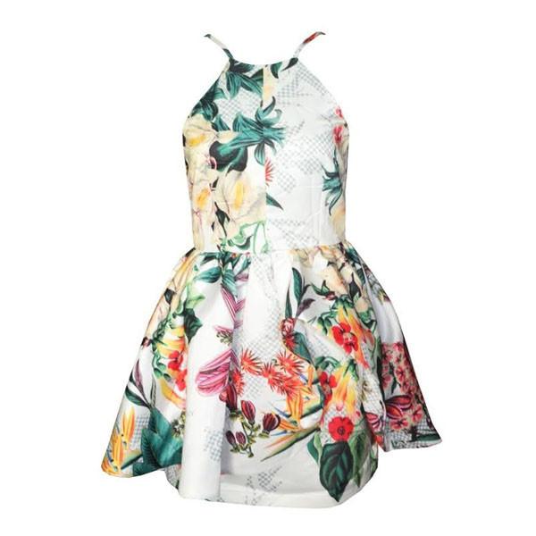 "Chic ""winter wind"" botanical print skater dress – glamzelle"
