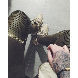 leggings maniere de voir khaki suede zip pants leather ribbed panelled zips