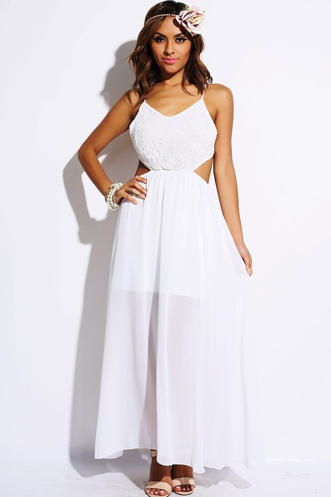 White Crochet Cut Out Backless Chiffon Party Maxi Dress | Simply ...