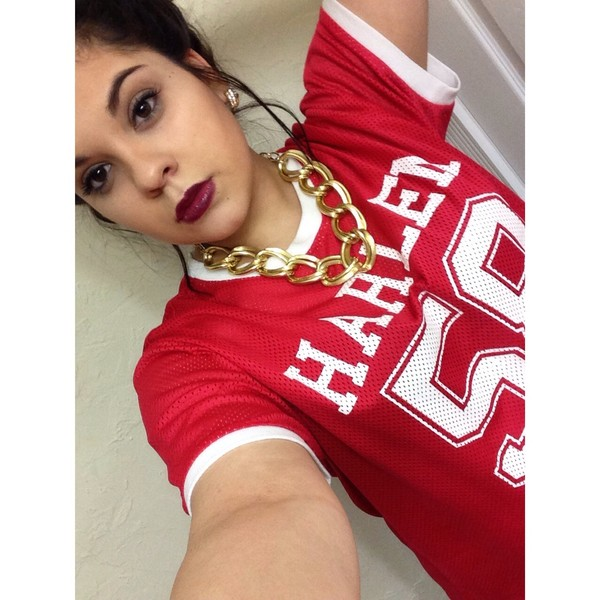 shirt red jersey cute oversized gold chain gold vintage swag must new york city harlem white