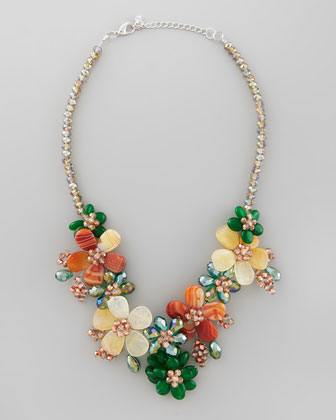 Nakamol Iridescent Beaded Flower Necklace - Neiman Marcus