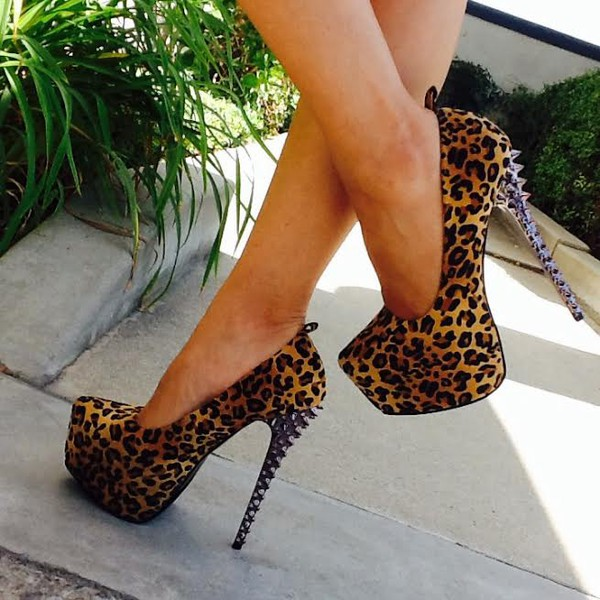 shoes leaopard heels spikes sexyheels high heels