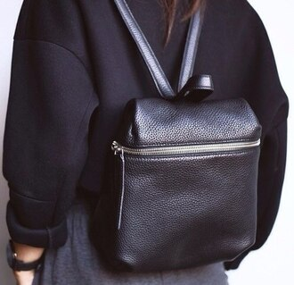 bag black leather backpack rucksack sweater zip black bag leather bag silver purse tumblr black backpack black leather leather backpack