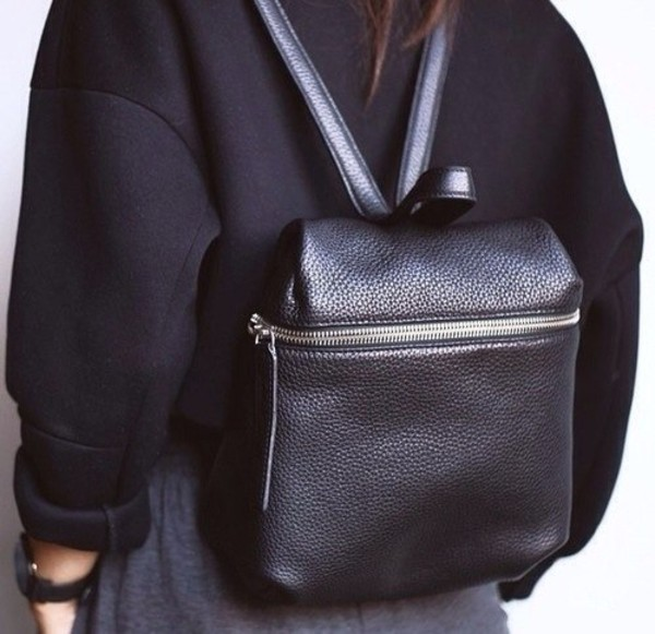 bag black leather backpack rucksack sweater zip black bag leather bag backpack backpack silver purse tumblr black backpack black leather leather backpack
